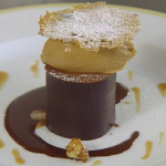 Iced Caramel Mousse with Bitter Chocolate Coulis