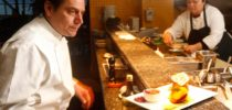 """Chef George Morrone at work in the kitchen at Sutro's restaurant at the Cliff House, in San Francisco, Calif., on March 4, 2009. That is the Vegetarian """"Blue Plate"""" on the counter ready to be served."""